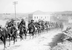 The 6th Australian light-horse regiment on the move in Jerusalem, c.1918