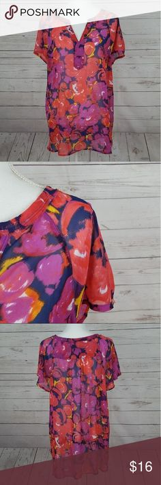 """Liz Claiborne floral blouse Liz Claiborne plus size semi-sheer floral blouse  Gorgeous colors, very flattering  Bust measures approx 25.75"""" across  Total length is approx 27.5"""" in the front, 29"""" in the back Liz Claiborne Tops Blouses"""