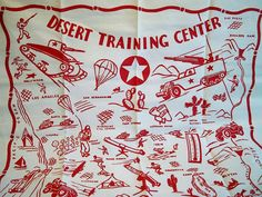Vintage 1940s WWII Desert Training Center Tablecloth by BlackRain4