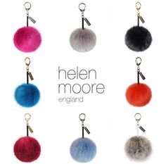 HELEN MOORE Pom Pom Faux Fur Keyring / Handbag Charm in choice of 8 colours #ShopifyPicks | Lush Labels British designed jewellery, accessories & gifts