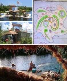 This may have been the first one:  floating man made island #recyle #plastic bottles #island #paradise