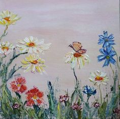 Beautiful Paintings Of Flowers, Summer Landscape, Canvas Board, Wild Flowers, Daisy, My Etsy Shop, Garden, Floral, Nature
