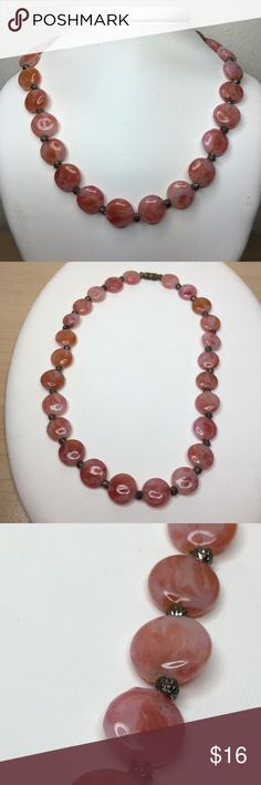 """🆕Vintage 1930s Red Glass Swirled Bead Necklace A 14"""" 1930s swirled art bead necklace in varying shades of red. Ends with a screw clasp. I'm not able to extend this piece, but if you'd like it restrung or made into a bracelet, we can definitely negotiate that! In very good vintage condition, some tarnish at the clasp. Vintage Jewelry Necklaces"""