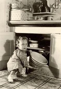 Farmhouse Kitchen, 1932.   vintage 1930s little girl dress