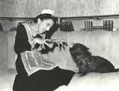 "Margaret Hamilton (The Wicked Witch of the West) reunites with her ""Wizard of OZ"" co-star, Terry, while filming ""Twin Beds"" (1942)"