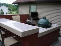A frame/veneer outdoor kitchen costs about a third of a full stome outdoor kitchen and that's not even counting labor. Description from barbecuebible.com. I searched for this on bing.com/images