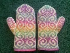 Ravelry: cantclosemyeyes' Perri's Fiddlehead Mittens in Mochi Plus with solid Crystal Palace, Mochi, Fingerless Gloves, Mittens, Knits, Ravelry, Crystals, Sewing, Knitting