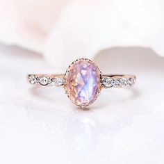 Solid 14kt Rosé Gold Moonstone Ring with Diamonds - Mirth                      – Moonstone Magic
