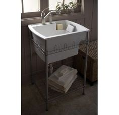 Buy the Sterling Biscuit Direct. Shop for the Sterling Biscuit Latitude 25 Utility Sink with Stand and save. Laundry Room Utility Sink, Laundry Tubs, Laundry Room Organization, Laundry Room Design, Utility Sinks, Laundry Rooms, Laundry Decor, Small Utility Sink, Small Laundry Sink