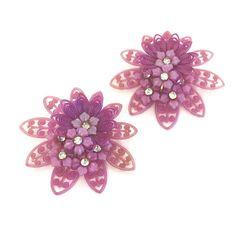 Purple Flower Earrings  Vintage Plastic by LoriLakeTreasures