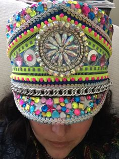 Costom hand Jeweled Burning Man Festival hat Disco Blacklight Military/Band Hat by RebelWardrobeUSA on Etsy https://www.etsy.com/listing/502850289/costom-hand-jeweled-burning-man-festival