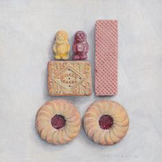 The paintings by (NZ original) Joel Penkman really make me smile! Love the still life compositions of gorgeous foods! Joel says on his abou. Dessert Illustration, Illustration Art, Joel Penkman, Rich Tea, Food Painting, Painting Art, Food Drawing, Gcse Art, High Art