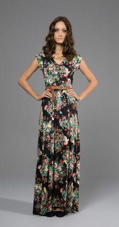 Floral long dress so lovely, Modest Dresses, Pretty Dresses, Casual Dresses, Maxi Dresses, Modest Fashion, Boho Fashion, Fashion Dresses, Dress Me Up, Dress To Impress