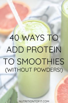 Protein powders aren't necessary to create a high-protein smoothie. These forty real food ingredients can add protein to your favorite healthy smoothie recipes. Yup - real food, high-protein smoothie recipe ideas with no protein powder included! High Protien Smoothies, Protein Fruit Smoothie, Breakfast Smoothie Recipes, Protein Shake Recipes, Fruit Smoothies, Protein Powder Smoothies, Fitness Smoothies, Smoothie Benefits, Pumpkin Smoothie