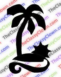 Palm tree, beach & sunset glitter tattoo stencil...