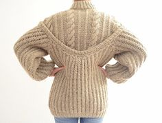 Vintage Super Chunky Oversized Knitted Brown / Grey / by DejaYu