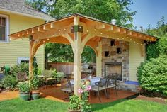 Patio Small Backyard Patio Design, Pictures, Remodel, Decor and Ideas - page 3 Garden design with a pergola or gazebo is more functional, beautiful and comfortable Patio Pergola, Small Backyard Patio, Backyard Patio Designs, Wooden Pergola, Pergola Designs, Backyard Landscaping, Patio Ideas, Landscaping Ideas, Backyard Gazebo