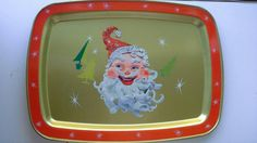 Set of three super doopper Tin Christmas trays so you can sit in front of the TV and eat your frozen turkey dinner on Christmas Day. Measure 14 by Frozen Turkey, Vintage Christmas, Tin, 1960s, Lunch Box, Presents, Etsy Shop, Trays, Handmade Gifts