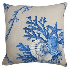 """Cotton pillow with a marine motif and down fill. Made in the USA.   Product: PillowConstruction Material: Cotton cover and 95/5 down fillColor: Blue and naturalFeatures:  Insert includedHidden zipper closureMade in the USA Dimensions: 18"""" x 18""""Cleaning and Care: Spot clean"""