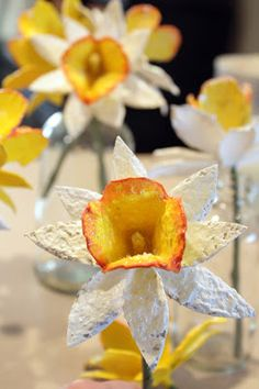 Daffodil Tutorial - Oh gracious, how darling are these???  Recycled cardboard egg cartons!!  Is that clever or what??!  :)