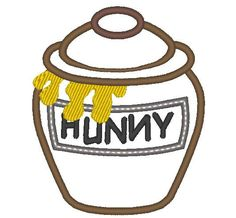 Honey pot winnie the pooh machine embroidery applique by artapli Halloween Applique, Halloween Embroidery, Christmas Applique, Christmas Embroidery, Machine Embroidery Applique, Embroidery Fonts, Applique Patterns, Applique Designs, Embroidery Ideas