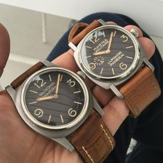 Just a couple of Panerais. Very very rare ones. (Look at the difference in Lugs & case shape). Panerai Watches, Bling, Couple, Shape, Clocks, Watch, Tag Watches, Fit, Couples