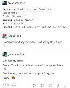 that makes two of them whose favorite is Dick Grayson :) - Womens Batman - Ideas of Womens Batman - that makes two of them whose favorite is Dick Grayson Robin Dc, Batman Robin, Batman And Superman, Tim Drake, Jason Todd, Battlestar Galactica, Spawn, Batgirl, Batwoman