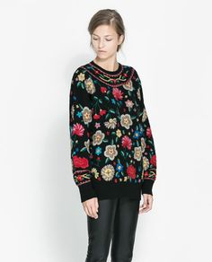 SWEATER WITH EMBROIDERED FLOWERS from Zara