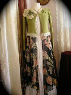 Boho Gypsy Sweater Coat, handmade ooak upcycled clothing altered couture, Medium. $78.00, via Etsy.