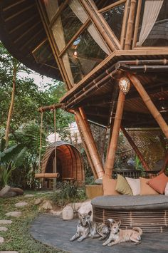 56 Trendy Ideas for bamboo tree plan architecture Bamboo House Bali, Bamboo House Design, Bali House, Bamboo Tree, Jungle House, Forest House, Lightroom, Tiki Bars, Bamboo Architecture