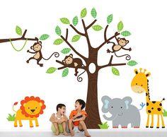 children's jungle wall sticker set by parkins interiors   notonthehighstreet.com