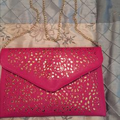 Pink and Gold envelope clutch Really pretty and feminine pink clutch ir cross body. Bag is NOT forever 21. Just placed it here for exposure. Thank you for stopping by my closet Forever 21 Bags Clutches & Wristlets