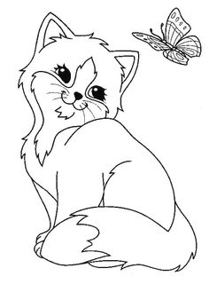 Kitten Coloring Pages for Adults Easy Coloring Pages, Cat Coloring Page, Flower Coloring Pages, Animal Coloring Pages, Coloring Pages To Print, Free Printable Coloring Pages, Coloring Books, Big Eyed Animals, Kindergarten Coloring Pages