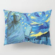 Liberty Parody starry night  Pillow Sham  @pointsalestore Society6 #pillowsham #pillow #case #digital #art #painting #ink #watercolor #popart #comic #illustration #liberty #trump #president #donaltrump #starrynigt #vangogh #americafirst #leader #victory #freedom #scifi #retro #buildings