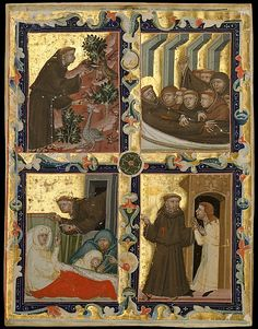 Manuscript Leaf with Scenes from the Life of Saint Francis of Assisi, ca. 1320–42. Made in Bologna, Italy for Hungarian use.