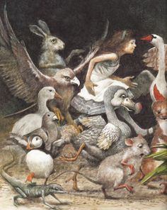 Robert Ingpen (Alice's Adventures in Wonderland by Lewis Carroll) Illustration Book, Book Illustrations, Alice Liddell, Adventures In Wonderland, Wonderland Alice, Lewis Carroll, Hans Christian, Through The Looking Glass, Swans