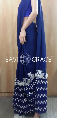 Sneak Peeks of the Deep Blue Pure Chiffon Saree with White Birdies and White Organza Floral Vine. Coming Soon ONLY ON www.eastandgrace.com. For pre-orders or questions, reach us at orders@eastandgra.... With love, EAST & GRACE
