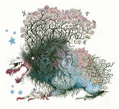 Monstrous Dogs Overgrown with Greenery Illustrated by Holly Lucero   Colossal