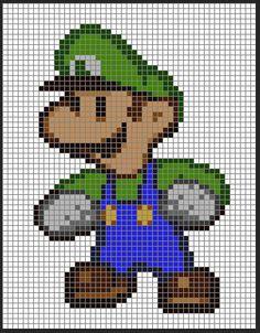 Paper Mario Cross Stitch Pattern (Luigi). $6.95, via Etsy.