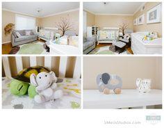 I like the neutral colors and the fun animals!  Baby Nursery - UMeUsStudios.com