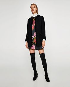 ZARA - WOMAN - FRAYED FROCK COAT WITH TEXTURED WEAVE