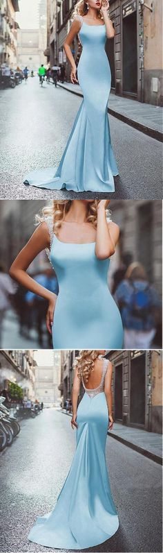 Amazing satin neckline Mermaid tuxedo prom dress P0028#prom#promdress#promdresses#blueprom#satinpromdresses
