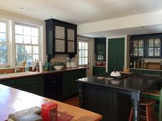 Reclaimed plank floors transformed into kitchen counters. Sold! (Note: this is the home of Grace Bonney of Design*Sponge)