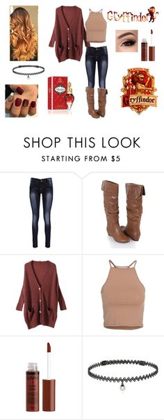 """""""Untitled #8"""" by undeadbunny ❤ liked on Polyvore featuring Boohoo, Forever 21, NLY Trend, BERRICLE, harrypotter and Gryffindor"""