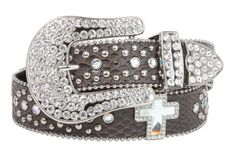 Snap On Rhinestone Cross Silver Circle Studded Snake Print Genuine Leather Belt Size: M/L - 38 Color: Brown Made by #beltiscool Color #Brown