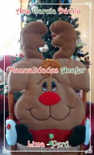 Manualidades Anafer: Cubresillas Navideños Smurfs, Snowman, Christmas Crafts, Teddy Bear, Halloween, Ideas, Covers For Chairs, Embellishments, Scrappy Quilts