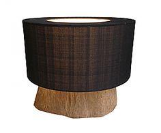 Lampada da tavolo in teak e cotone SHADE nera -  Ø 35 cm