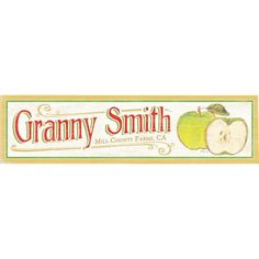 Artehouse LLC Personalized Granny Smith Graphic Art on Wood