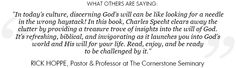 Rick Hoppe's endorsement of my book, REVEALED: God's Will For Your Life