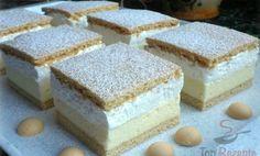 Čas přípravy: 35 min Čas vaření: 20 min SUROVINY Těsto: 500 g hladké mouky 190 g moučkového cukru 5 Kremes Recipe, Cheese Sticks Recipe, Flan Cake, Cake Recipes, Dessert Recipes, Waffle Cake, Traditional Cakes, Hungarian Recipes, Homemade Cakes